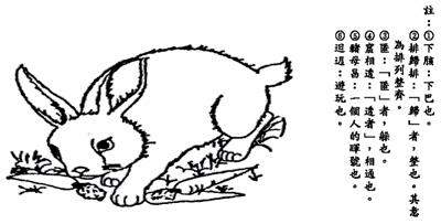 小白兔,真可爱. 红目睭,没下胲1. 透早食青菜,欢喜笑咳咳.